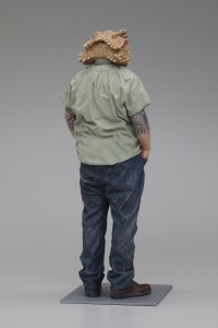 Alessandro Gallo -  <strong>I Don't Want to Grow Up (back)</strong> (2016<strong style = 'color:#635a27'></strong>)<bR /> stoneware, mixed media, 18 x 6 x 6 inches, (45.72 x 15.24 x 15.24 cm)