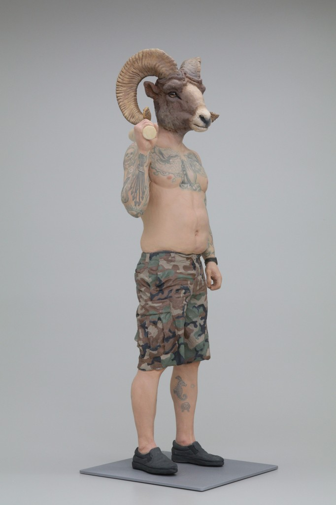 Alessandro Gallo -  <strong>Jesse - The Veteran</strong> (2016<strong style = 'color:#635a27'></strong>)<bR /> stoneware, mixed media, 30 x 12 x 12 inches, (76.2 x 30.48 x 30.48 cm)
