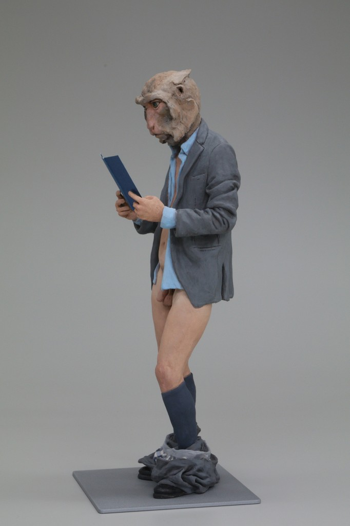 Alessandro Gallo -  <strong>Monkey Business (right)</strong> (2016<strong style = 'color:#635a27'></strong>)<bR /> stoneware, mixed media, 17 x 7 x 7 inches, (43.18 x 17.78 x 17.78 cm)