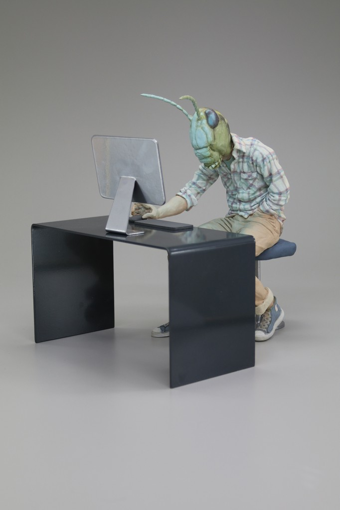Alessandro Gallo -  <strong>Social Activist - Locust Swarm</strong> (2016<strong style = 'color:#635a27'></strong>)<bR /> stoneware, mixed media, 13 x 11 x 16 inches, (33.02 x 27.94 x 40.64 cm)