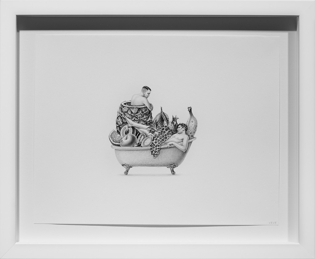 Armando Veve -  <strong>Bathtub Boys</strong> (2015<strong style = 'color:#635a27'></strong>)<bR /> graphite on paper, 8.5 x 11 inches, (21.6 x 27.9 cm), framed: 11.6 x 14.1 inches, (29.5 x 35.9 cm)