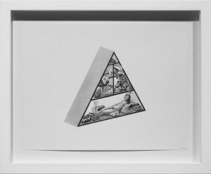 Armando Veve -  <strong>Food Pyramid Muse</strong> (2015<strong style = 'color:#635a27'></strong>)<bR /> graphite on paper, 8.5 x 11 inches, (21.6 x 27.9 cm), framed: 11.6 x 14.1 inches, (29.5 x 35.9 cm)