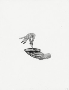 Armando Veve -  <strong>Hummus Hands</strong> (2015<strong style = 'color:#635a27'></strong>)<bR /> graphite on paper,  11 x 8.5 inches, (27.9 x 21.6 cm)