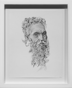 Armando Veve -  <strong>Michelangelo</strong> (2015<strong style = 'color:#635a27'></strong>)<bR /> graphite on paper, 11 x 8.5 inches, (27.9 x 21.6 cm), framed: 14.1 x 11.6 inches, (35.9 x 29.5 cm)