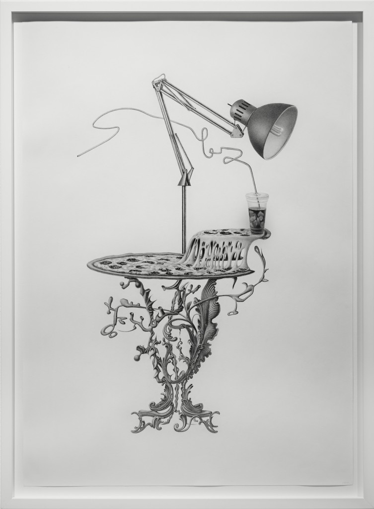 Armando Veve -  <strong>Pizza Table</strong> (2015<strong style = 'color:#635a27'></strong>)<bR /> graphite on paper, 30 x 22 inches, (76.2 x 55.9 cm), framed: 32.6 x 24 inches, (82.8 x 61 cm)