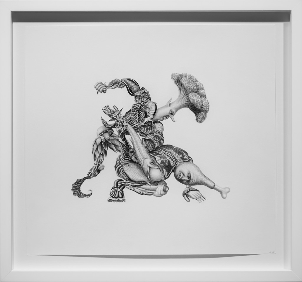 Armando Veve -  <strong>Protein Myth</strong> (2016<strong style = 'color:#635a27'></strong>)<bR /> graphite on paper, 14 x 15.5 inches, (35.6 x 39.4 cm), framed: 17.7 x 18.9 inches, (45 x 48 cm)