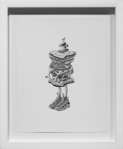 Armando Veve -  <strong>Sandwich Boy</strong> (2015<strong style = 'color:#635a27'></strong>)<bR /> graphite on paper, 11 x 8.5 inches, (27.9 x 21.6 cm), framed: 14.1 x 11.6 inches, (35.9 x 29.5 cm)