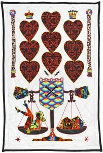 Ben Venom -  <strong>Hearts Alive</strong> (2016<strong style = 'color:#635a27'></strong>)<bR /> hand-made quilt with recycled fabric, 43 x 67 inches, (109.2 x 170.2 cm)