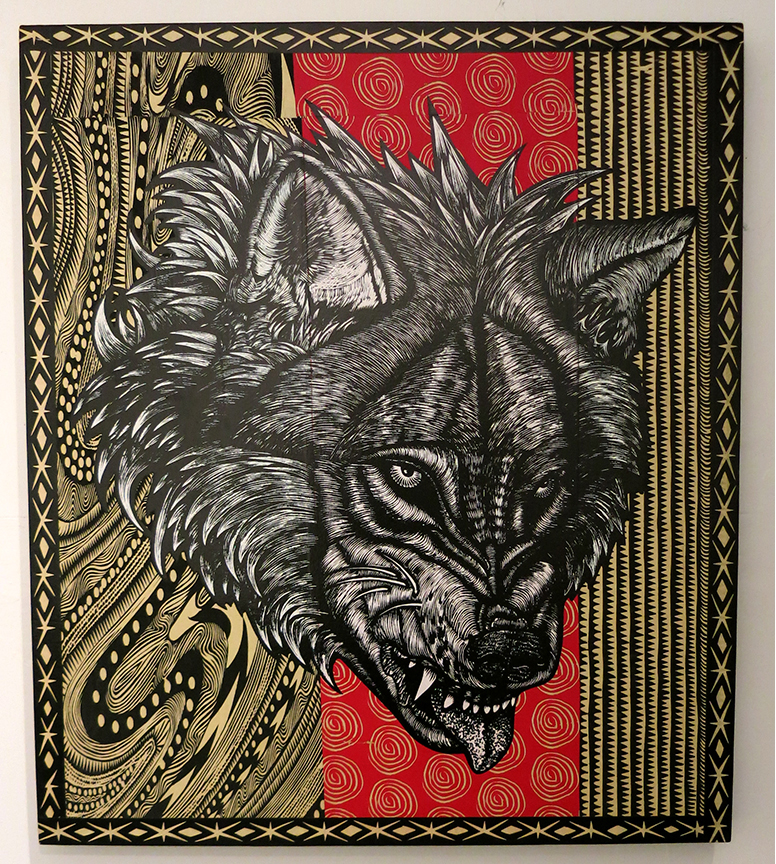 Dennis McNett -  <strong>Fenris</strong> (2013<strong style = 'color:#635a27'></strong>)<bR /> hand-colored silkscreen collage on woodcut panel, 30 x 26 inches, (76.2 x 66.04 cm)