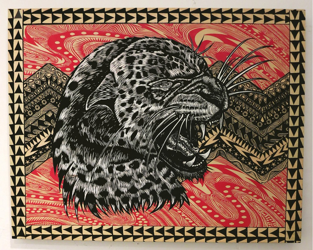 Dennis McNett -  <strong>Leopard Profile</strong> (2013<strong style = 'color:#635a27'></strong>)<bR /> hand-colored silkscreen collage on woodcut panel, 22 x 28 inches, (55.88 x 71.12 cm)