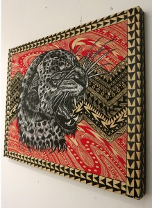 Dennis McNett -  <strong>Leopard Profile (side)</strong> (2013<strong style = 'color:#635a27'></strong>)<bR /> hand-colored silkscreen collage on woodcut panel, 22 x 28 inches, (55.88 x 71.12 cm)