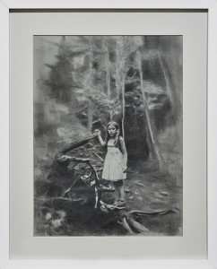 Eloy Morales -  <strong>Alayna In The Forest</strong> (2016<strong style = 'color:#635a27'></strong>)<bR /> pencil on paper, framed.  15.74 x 11.81 inches, (40 x 30 cm) $1,200