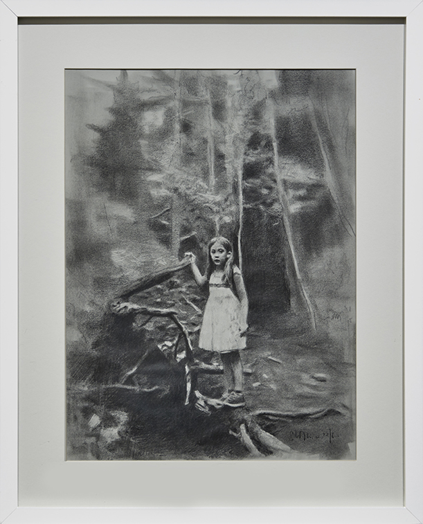 Eloy Morales -  <strong>Alayna In The Forest</strong> (2016<strong style = 'color:#635a27'></strong>)<bR /> pencil on paper, framed.  15.74 x 11.81 inches, (40 x 30 cm)