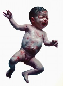 Eloy Morales -  <strong>Floating Baby Number One</strong> (2016<strong style = 'color:#635a27'></strong>)<bR /> oil on canvas, 76.77 x 51.18 inches, (195 x 130 cm)