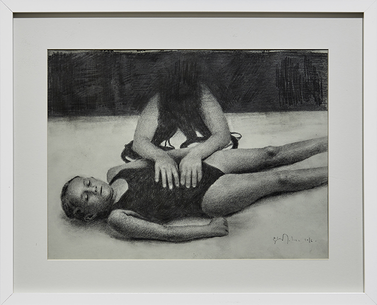Eloy Morales -  <strong>Girls From The Darkness</strong> (2016<strong style = 'color:#635a27'></strong>)<bR /> pencil on paper, framed. 11.81 x 15.74 inches, (30 x 40 cm) $1,200