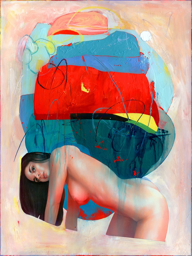 Erik Jones -  <strong>Wall</strong> (2016<strong style = 'color:#635a27'></strong>)<bR /> colored pencil, pastel, acrylic on Rives bfk paper mounted to board, 40 x 30 inches, (101.6 x 76.2 cm)