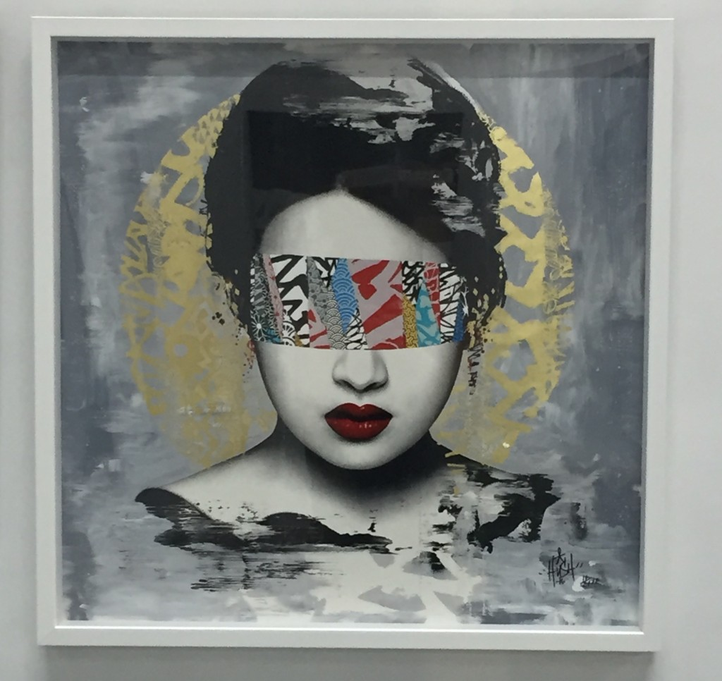 Hush -  <strong>Halo (Artist Print edition of 21)</strong> (2016<strong style = 'color:#635a27'></strong>)<bR /> 16 color screenprint with hand applied 22 ct gold leaf, 23.6 x 23.6 inches, (60 x 60 cm)
