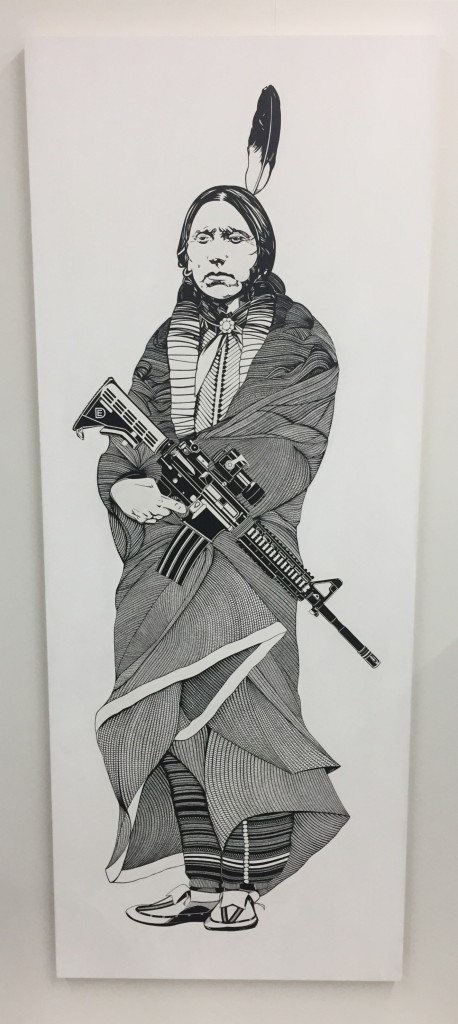 Dylan Egon -  <strong>Quanah Parker</strong> (2011<strong style = 'color:#635a27'></strong>)<bR /> acrylic on wood, 30 x 76 inches, (76.2 x 193 cm)\ $12,000