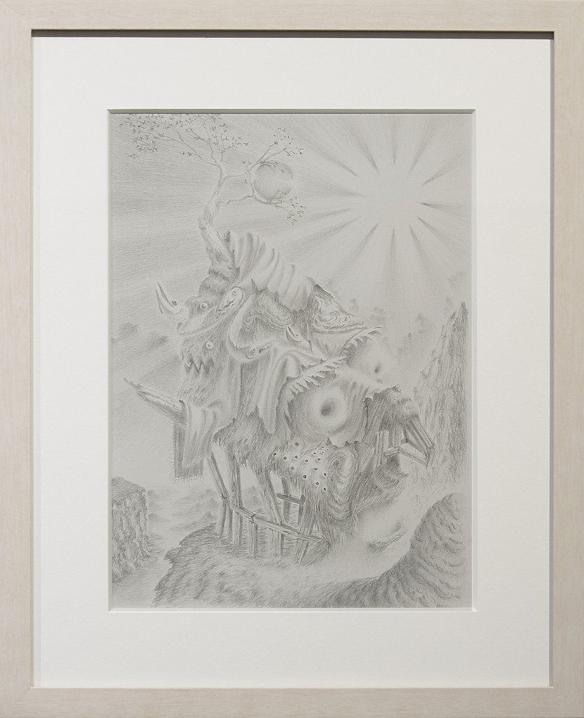 Fulvio di Piazza -  <strong>Baracca</strong> (2016<strong style = 'color:#635a27'></strong>)<bR /> pencil on paper, 12 x 9 inches, (30.5 x 23 cm), framed: 16.5 x 13.5 inches, (41.9 x 34.3 cm)
