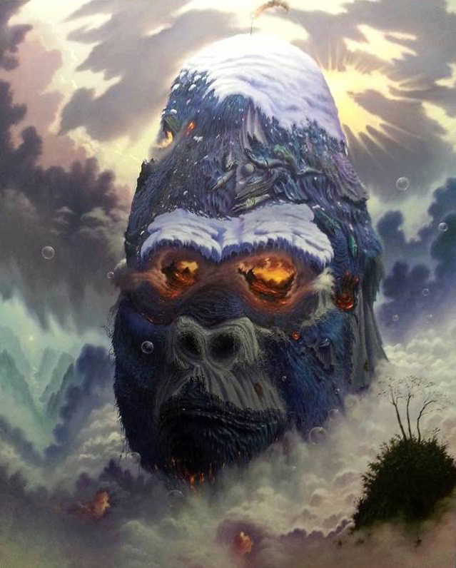 Fulvio di Piazza -  <strong>Crying Gorilla</strong> (2016<strong style = 'color:#635a27'></strong>)<bR /> oil on canvas, 66.9 x 55.11 inches, (170 x 140 cm)