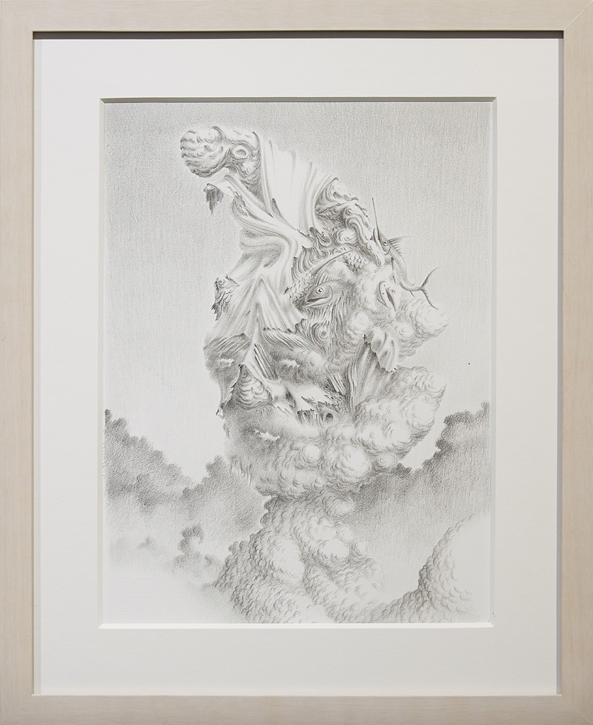 Fulvio di Piazza -  <strong>Face of Cloud</strong> (2016<strong style = 'color:#635a27'></strong>)<bR /> pencil on paper, 12.9 x 9.4 inches, (33 x 24 cm), framed: 16.5 x 13.5 inches, (41.9 x 34.3 cm)