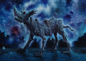 Fulvio di Piazza -  <strong>Howling Universe</strong> (2016<strong style = 'color:#635a27'></strong>)<bR /> oil on canvas, 9.4 x 13.4 inches, (24 x 34 cm)