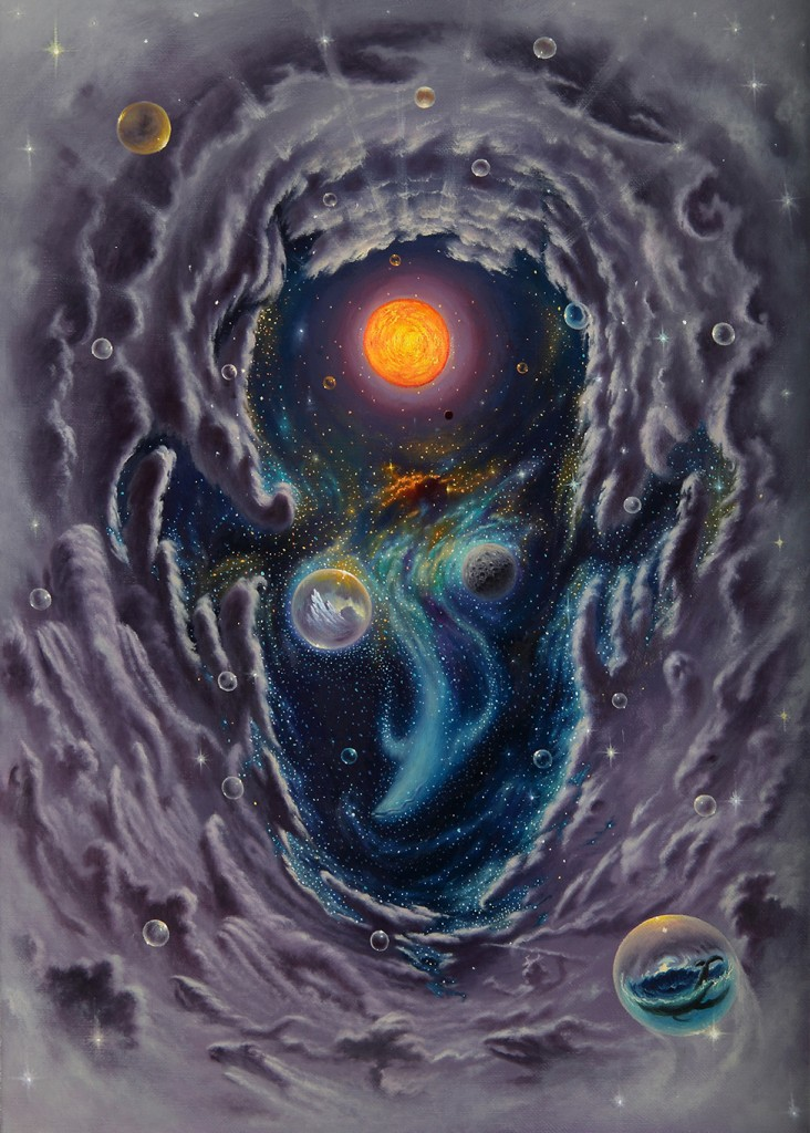 Fulvio di Piazza -  <strong>Universe</strong> (2016<strong style = 'color:#635a27'></strong>)<bR /> oil on canvas, 30.3 x 21.6 inches, (77 x 55 cm)