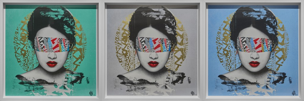 Hush -  <strong>Halo edition of 50</strong> (2016<strong style = 'color:#635a27'></strong>)<bR /> Set of 3. 16 color screenprint with hand applied 22 ct gold leaf, 23.6 x 23.6 inches, (60 x 60 cm). $2,500