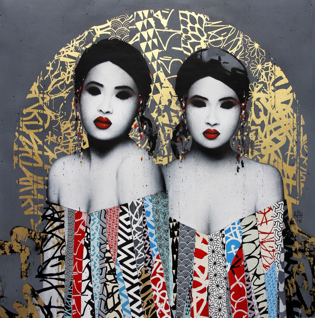 Hush -  <strong>Hypnotize</strong> (2016<strong style = 'color:#635a27'></strong>)<bR /> acrylic, spray paint, screen print and 22kt gold leaf on linen, 56 x 56 inches, (142.24 x 142.24 cm)
