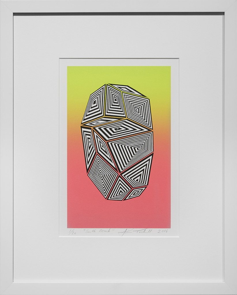 Jaime Brett Treadwell -  <strong>South Beach edition 1/20</strong> (2016<strong style = 'color:#635a27'></strong>)<bR /> two-color lithograph on White Canson 100% cotton rage paper,  paper size: 15 x 11.25 inches, (38.1 x 28.6 cm), framed: 18.1 x 14.6 inches, (45.9 x 39.6 cm)