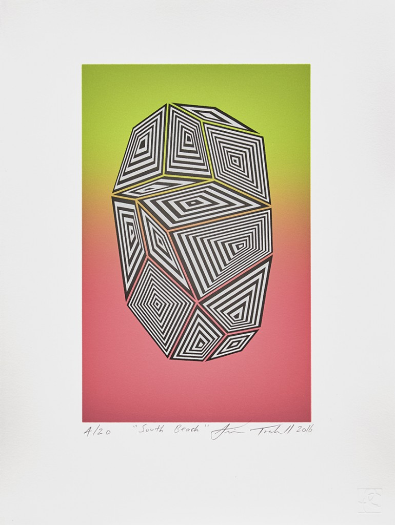 Jaime Brett-Treadwell -  <strong>South Beach editions 2-20</strong> (2016<strong style = 'color:#635a27'></strong>)<bR /> two-color lithograph on White Canson 100% cotton rage paper,  paper size: 15 x 11.25 x inches, (38.1 x 28.6 cm)