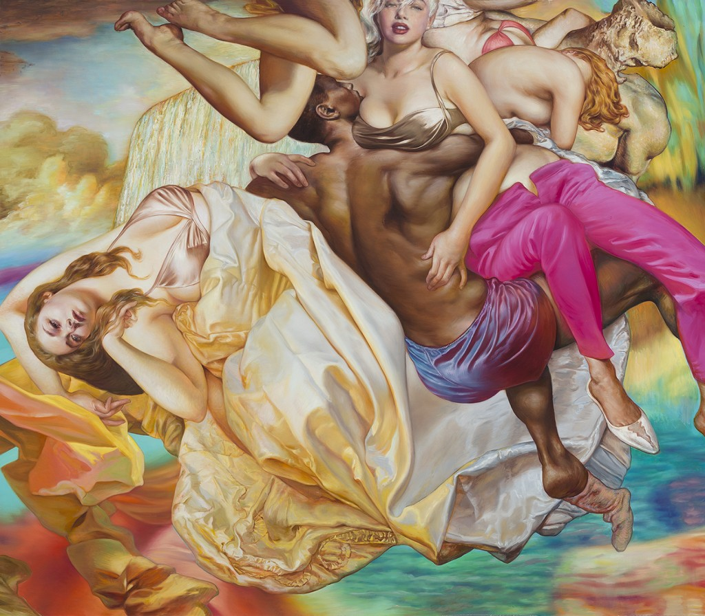 Jamie Adams -  <strong>Bride Falls, Pink Pants, Soggy Socks</strong> (2016<strong style = 'color:#635a27'></strong>)<bR /> oil on linen, 84 x 96 inches, (213.36 x 243.84 cm)
