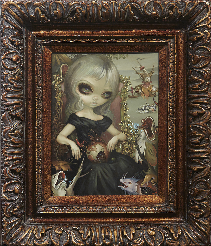 Jasmine Becket-Griffith -  <strong>Bosch Princess</strong> (2016<strong style = 'color:#635a27'></strong>)<bR /> acrylic on panel, 16 x 12 inches, (40.6 x 30.5 cm), framed: 27 x 23 inches, (68.6 x 58.4 cm)