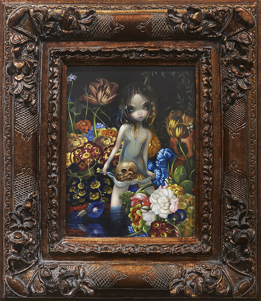 Jasmine Becket-Griffith -  <strong>Offering I</strong> (2016<strong style = 'color:#635a27'></strong>)<bR /> acrylic on panel, 16 x 12 inches, (40.6 x 30.5 cm), framed: 29 x 25 inches, (73.7 x 63.5 cm)