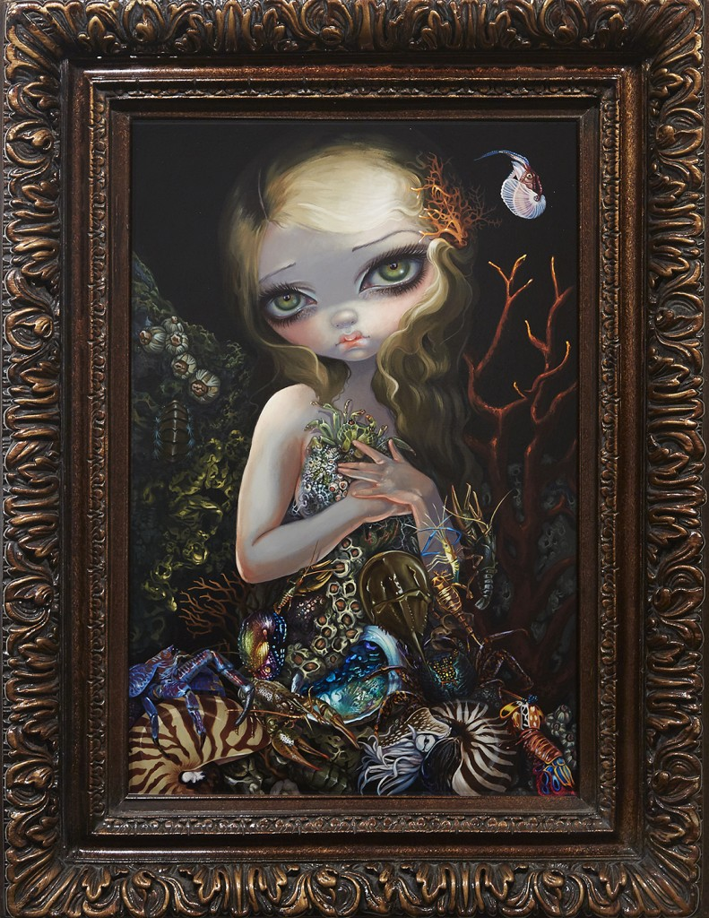 Jasmine Becket-Griffith -  <strong>Soft Shell</strong> (2016<strong style = 'color:#635a27'></strong>)<bR /> acrylic on panel, 30 x 20 inches, (76.2 x 50.8 cm), framed: 41 x 31 inches, (104.1 x 78.7 cm)
