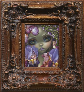 Jasmine Becket-Griffith -  <strong>The Language of Flowers: Irises</strong> (2016<strong style = 'color:#635a27'></strong>)<bR /> acrylic on panel, 10 x 8 inches, (25.4 x 20.3 cm), framed: 20 x 18 inches, (50.8 x 45.7 cm)