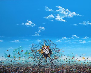 Jeffrey Gillette -  <strong>Inverted Mickey Ferris Wheel</strong> (2016<strong style = 'color:#635a27'></strong>)<bR /> acrylic and collage on canvas, 48 x 60 inches, (121.9 x 152.4 cm)