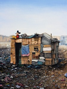 Jeffrey Gillette -  <strong>Mickey Slum Shack #3</strong> (2016<strong style = 'color:#635a27'></strong>)<bR /> oil on canvas, 24 x 18 inches, (61 x 45.7 cm)
