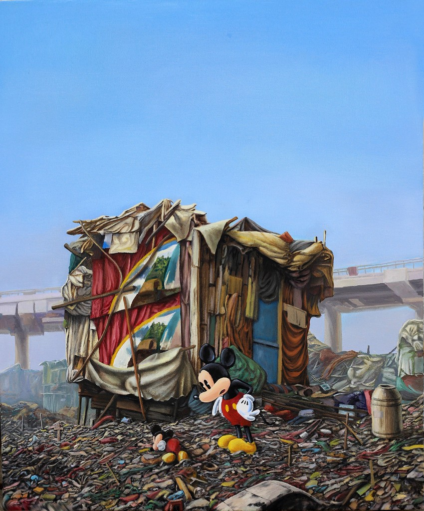 Jeffrey Gillette -  <strong>Mickey Slum Shack #4</strong> (2016<strong style = 'color:#635a27'></strong>)<bR /> oil on canvas, 24 x 20 inches, (61 x 50.8 cm)