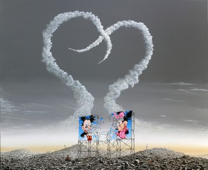 Jeffrey Gillette -  <strong>Mickey and Minnie Hiroshima - 'Love'</strong> (2016<strong style = 'color:#635a27'></strong>)<bR /> oil, acrylic and collage on canvas, 48 x 60 inches, (121.9 x 152.4 cm) $12,000