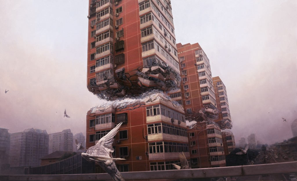 Jeremy Geddes -  <strong>Fortress</strong> (2015<strong style = 'color:#635a27'></strong>)<bR /> oil on board, 35.82 x 21.25 inches, (91 x 54 cm)