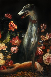 Martin Wittfooth -  <strong>Domesticated</strong> (2016<strong style = 'color:#635a27'></strong>)<bR /> oil on linen,  60 x 40 inches, (152.4 x 101.6 cm) $14,000