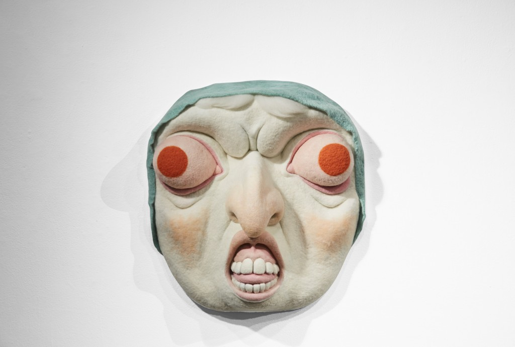 Paolo Del Toro -  <strong>Baba Yaga</strong> (2016<strong style = 'color:#635a27'></strong>)<bR /> sculpted Styrofoam core covered with hand-dyed needle felted merino wool, 26 x 26 x 8 inches, (66 x 66 x 20.3 cm)