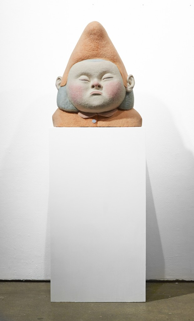 Paolo Del Toro -  <strong>Sleeping Witch</strong> (2016<strong style = 'color:#635a27'></strong>)<bR /> sculpted Styrofoam core covered with hand-dyed needle felted merino wool, 23 x 19 x 10 inches, (58.4 x 48.3 x 25.4 cm)