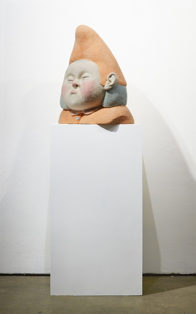 Paolo Del Toro -  <strong>Sleeping Witch (side)</strong> (2016<strong style = 'color:#635a27'></strong>)<bR /> sculpted Styrofoamcore covered with hand-dyed needle felted merino wool, 23 x 19 x 10 inches, (58.4 x 48.3 x 25.4 cm)