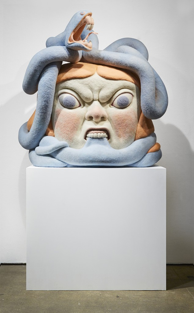 Paolo Del Toro -  <strong>Sofia Battles the Snake</strong> (2016<strong style = 'color:#635a27'></strong>)<bR /> sculpted Styrofoamcore covered with hand-dyed needle felted merino wool, 46 x 38 x 25 inches, (116.8 x 96.5 x 63.5 cm)