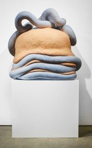 Paolo Del Toro -  <strong>Sofia Battles The Snake (back)</strong> (2016<strong style = 'color:#635a27'></strong>)<bR /> sculpted Styrofoamcore covered with hand-dyed needle felted merino wool, 46 x 38 x 25 inches, (116.8 x 96.5 x 63.5 cm)