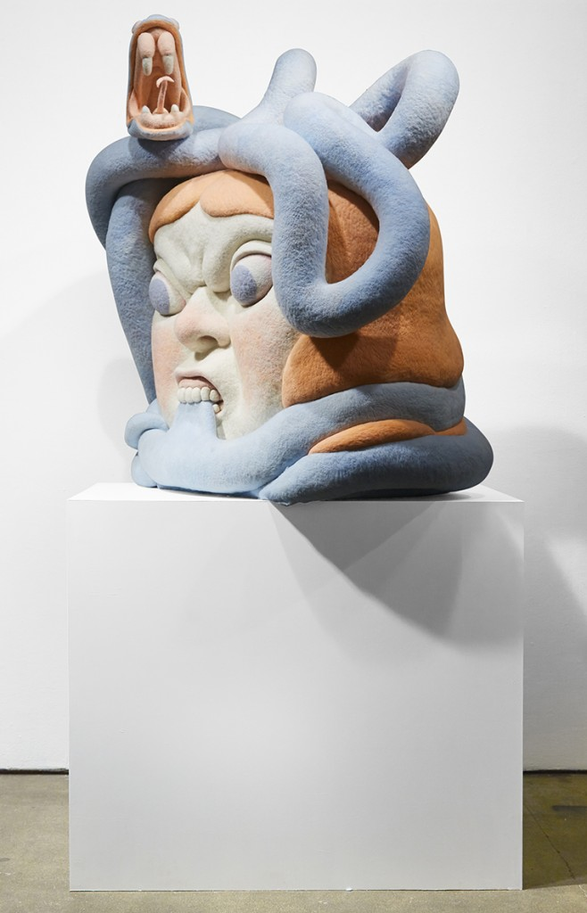 Paolo Del Toro -  <strong>Sofia Battles The Snake (side)</strong> (2016<strong style = 'color:#635a27'></strong>)<bR /> sculpted Styrofoam core covered with hand-dyed needle felted merino wool, 46 x 38 x 25 inches, (116.8 x 96.5 x 63.5 cm)