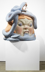 Paolo Del Toro -  <strong>Sofia Battles The Snake (side)</strong> (2016<strong style = 'color:#635a27'></strong>)<bR /> sculpted Styrofoamcore covered with hand-dyed needle felted merino wool, 46 x 38 x 25 inches, (116.8 x 96.5 x 63.5 cm)