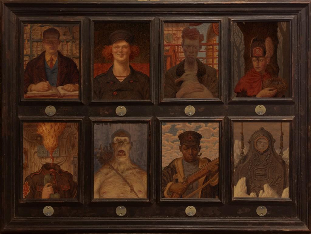 Peter Ferguson -  <strong>Le Dernier Voyage de la Cormoran</strong> (2016<strong style = 'color:#635a27'></strong>)<bR /> 8 separate oil on wood panels, 31 x 41 inches, (78.7 x 104.1 cm)
